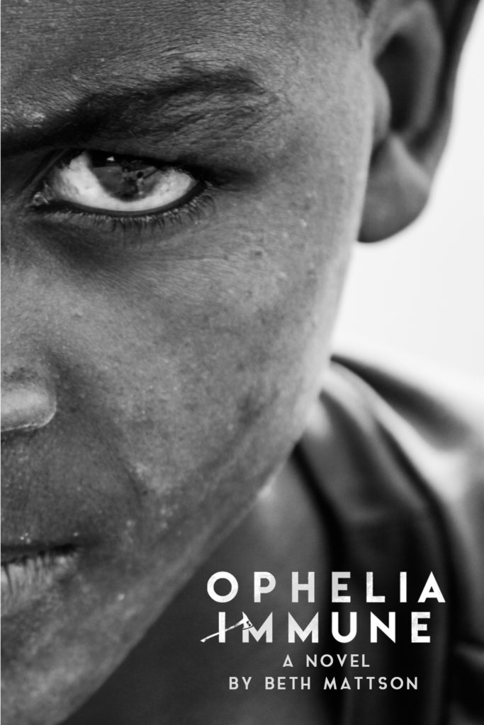 A girl stares out of the front cover of Ophelia Immune.